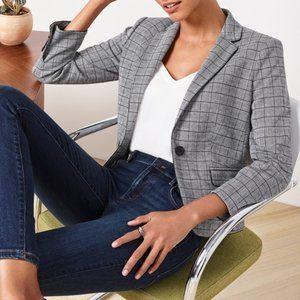 Ann Taylor Glen Plaid One Button Perfect Blazer